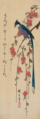 "Utagawa Hiroshige. Long-tailed bird on flowering branch of peach. Series ""Birds and flowers"""