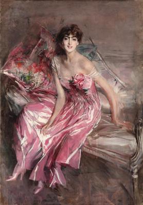 Джованни Больдини. Дама в розовом» (Оливия де Суберказо Конча) 1916