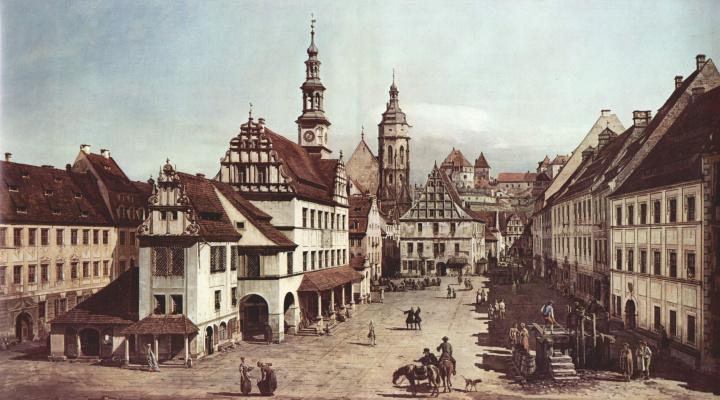 Giovanni Antonio Canal (Canaletto). View of Pirna, market square in Pirna