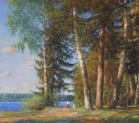 Alexander Victorovich Shevelyov. Trees in Volkov Creek.Oil on canvas 70,4 # 80,2 cm, 2009