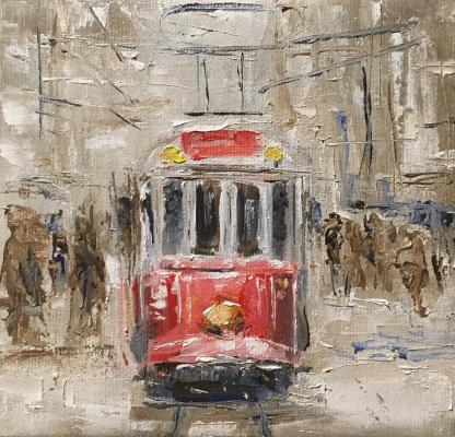 Всеволод Чистяков. Трамвай на заснеженной улице.