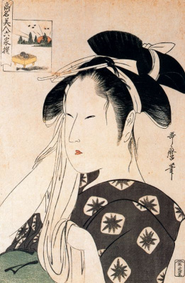 Kitagawa Utamaro. Woman toying with shawl