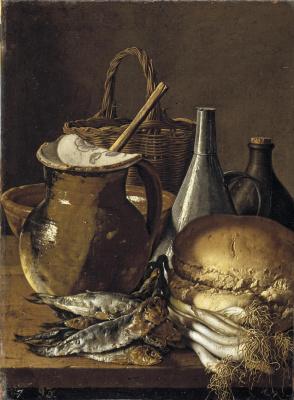 Луис Мелендес. Натюрморт с сельдью, луком, хлебом и посудой
