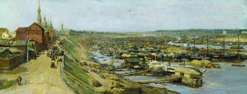Vasily Maksimovich Maksimov. View of the city of Rybinsk. 1886