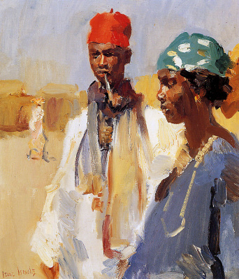 Isaac Israel. Double portrait of heads of Africans