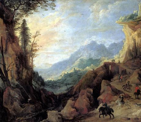 Пейзаж в горах с мостом и четырьмя всадниками