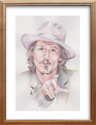 Ivan Alexandrovich Dolgorukov. Watercolor portrait of Johnny Depp