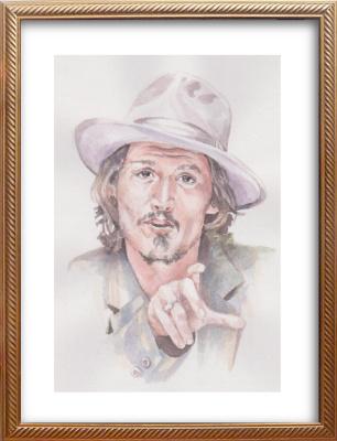 Ivan Alexandrovich Dolgorukov. Watercolor portrait of Johnny Depp