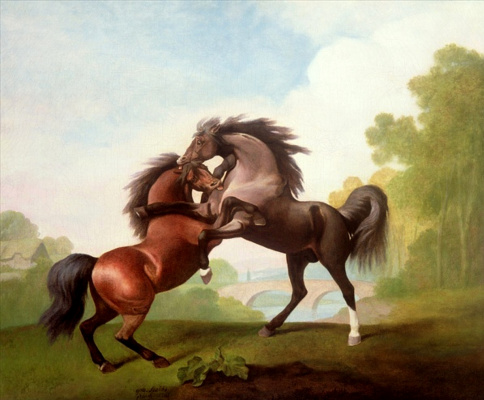 George Stubbs. Fighting stallions