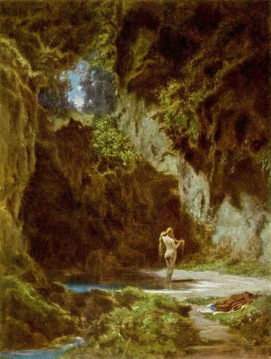 Karl Spitzweg. Bathing nymph