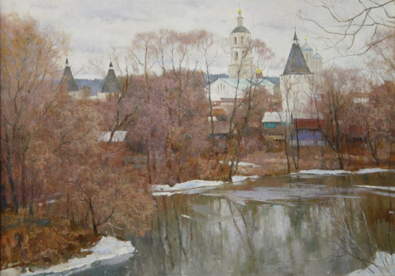 Boris Petrovich Zakharov. The snow melts. Borovsk.