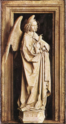 "Jan van Eyck. A fragment of a diptych ""Annunciation"". Archangel Gabriel"