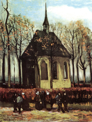 Прихожане выходят из реформаторской церкви в Ньюнене