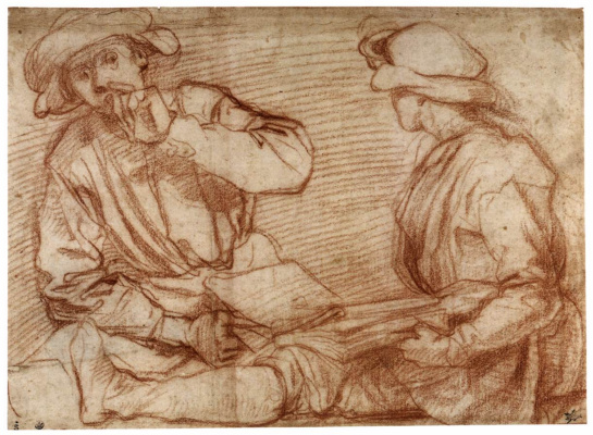 Jacopo Pontormo. Two sitting behind a book