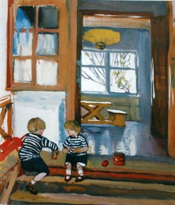Zinaida Yevgenyevna Serebriakova. Zhenya and Shura Serebryakovs on the porch bored