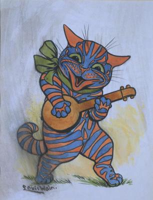 Louis Wain. Capable! Banjo Cat