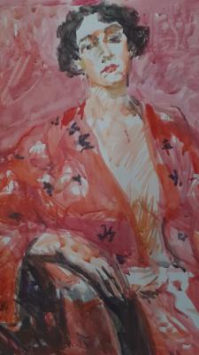 Igor Siemen. Girl in a pink bathrobe