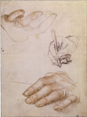 Hans Holbein The Younger. Sketch of the hand of Erasmus of Rotterdam