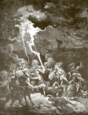 Поль Гюстав Доре. Иллюстрация к Библии: пророк Илия вызывает огонь с неба