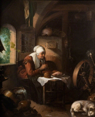 Gerrit (Gerard) Dow. Prayer of thanksgiving over the meat