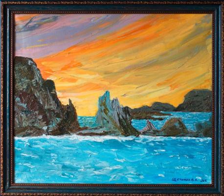 Vladimir Schetinin. Flambe sunset in the Blue Bay of Crimea