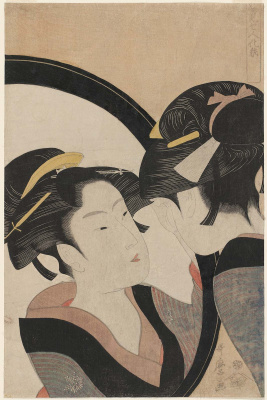 Kitagawa Utamaro. Beauty at toilet mid