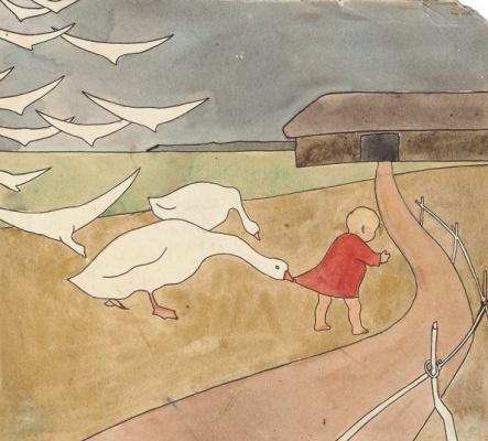 Елена Дмитриевна Чичагова-Россинская. Пробный отпечаток к сказке «Гуси-лебеди». 1910-е хромолитография