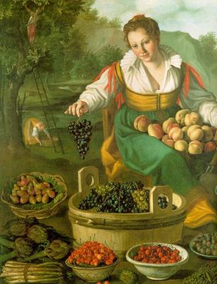 Vkampi. Woman with grapes
