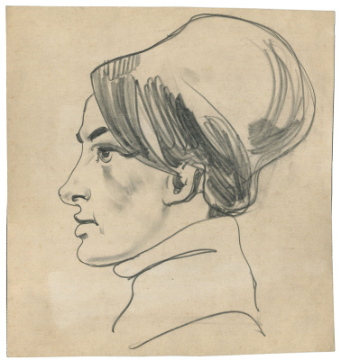 Alexandrovich Rudolf Pavlov. A sketch of a woman's head.