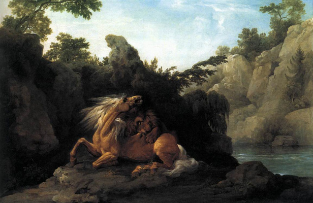 George Stubbs. The attack of a lion on a horse