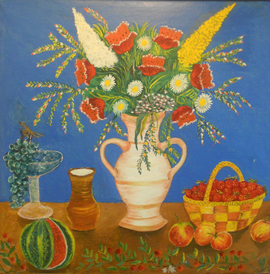 Vasily Vasilyevich Grigoryev. Flowers in a vase, strawberries in a basket