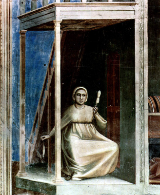 Giotto di Bondone. Annunciation to St. Anne. Scenes from the life of Joachim. Fragment