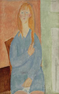 Amedeo Modigliani. Portrait of a seated girl in a blue dress