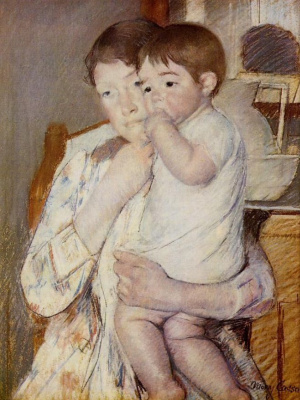 Mary Cassatt. The baby sucking the thumb, on the arms of his mother