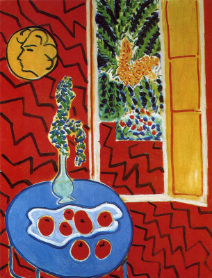 Henri Matisse. Red interior. Still life on a blue table