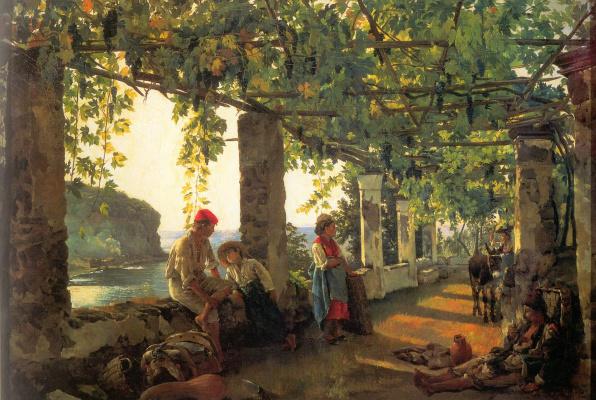 Веранда, обвитая виноградом