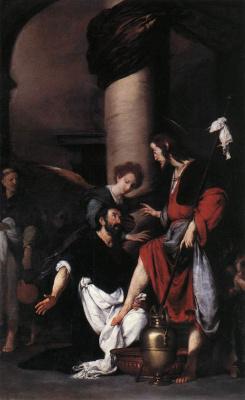 Бернардо Строцци. Блаженный Августин моет ноги Христу