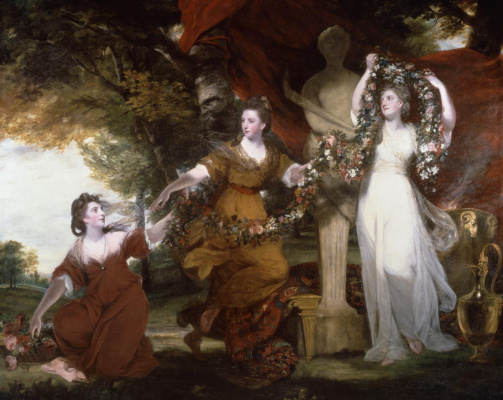 Joshua Reynolds. Three Graces. Montgomery sisters adorning the statue of Hymen