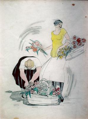 Willem de Kuning. Saleswoman of flowers