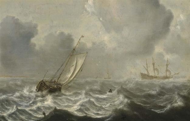 Ян Порселлис. Малое судно и фрегат в штормовом море