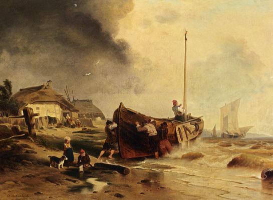 Андреас Ахенбах. Ахенбах рыболовное судно на пляже