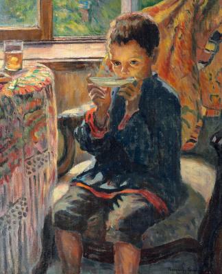 Nikolay Petrovich Bogdanov-Belsky. Boy drinking tea