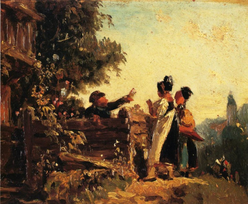 Karl Spitzweg. Peasant girls at the fence of the garden