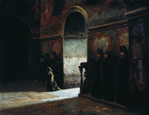 Nikolay Aleksandrovich Yaroshenko. In the monastery. 1870