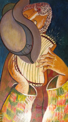Rostislav Nikolaevich Ivanov. Self-portrait with a harp
