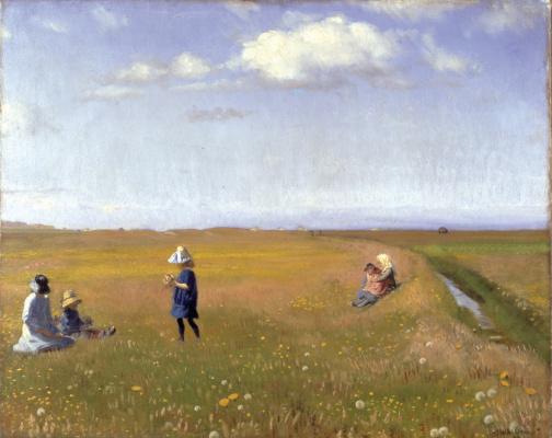 Дети и девушки собирают цветы в северной части Скагена
