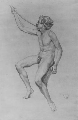 Julius Schnorr von Karolsfeld. Study of a Nude sitting boys