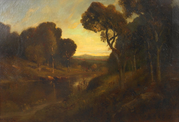 William Keith. The livestock watering along the river