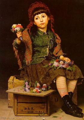Джон Джордж Браун. Девочка с цветами