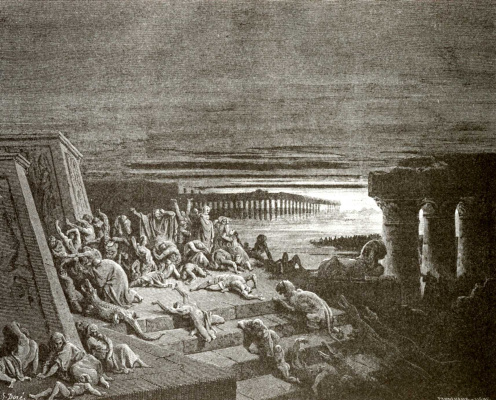 Paul Gustave Dore. Illustration to the Bible: darkness throughout the land of Egypt